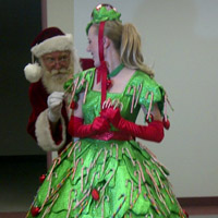 Candy Cane Dress       Children's eyes will light up as they see this character enter the room. They are invited to take a treat from this dress, in the shape of a Christmas tree, covered in candy canes! A great addition to Santa or for the Christmas parade!