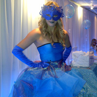 "Custom Themes TDC Entertainment can create unique costumes to compliment almost any theme. Example here is ""Water"" theme. The dress was made to resemble a cascading waterfall out of layers of sheer fabric!"